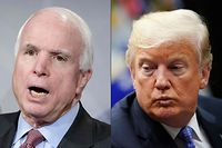 """(FILES)(COMBO) This combination of file pictures created on August 24, 2018 shows US Senator John McCain and US President Donald Trump. - Donald Trump rejected a statement prepared by his aides that praised John McCain, according to the Washington Post, underscoring the US president's enduring scorn for the late senator and war hero. While tributes have poured in highlighting the Arizona Republican's lifetime of service, Trump issued a single, terse tweet on August 25, 2018 that sent his """"deepest sympathies and respect"""" to the bereaved family, without any words for McCain himself. (Photos by BRENDAN SMIALOWSKI and MANDEL NGAN / AFP)"""