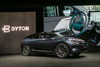 The BYTON M-Byte electric car is presented during the CES Unveiled event at the 2020 Consumer Electronics Show (CES) in Las Vegas, Nevada, on January 5, 2020. - CES is one of the largest tech shows on the planet,  showcasing more than 4,500 exhibiting companies representing the entire consumer technology ecosystem. (Photo by DAVID MCNEW / AFP)
