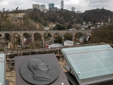 """The Robert Schuman """"father of Europe"""" plaque above Luxembourg City"""