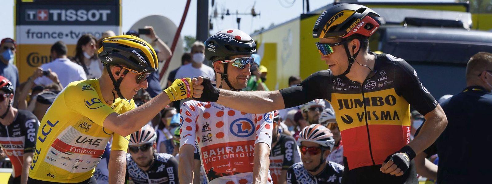 """Jusqu'au bout, le Belge Van Aert (à droite) aura montré qu'il aurait bientôt l'étoffe d'un vainqueur de la """"Grande Boucle""""."""