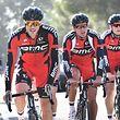 Jempy Drucker (BMC Racing) zusammen mit seinen Teamkollegen Greg Van Avermaet und Ben Hermans beim Training - Foto: Serge Waldbillig
