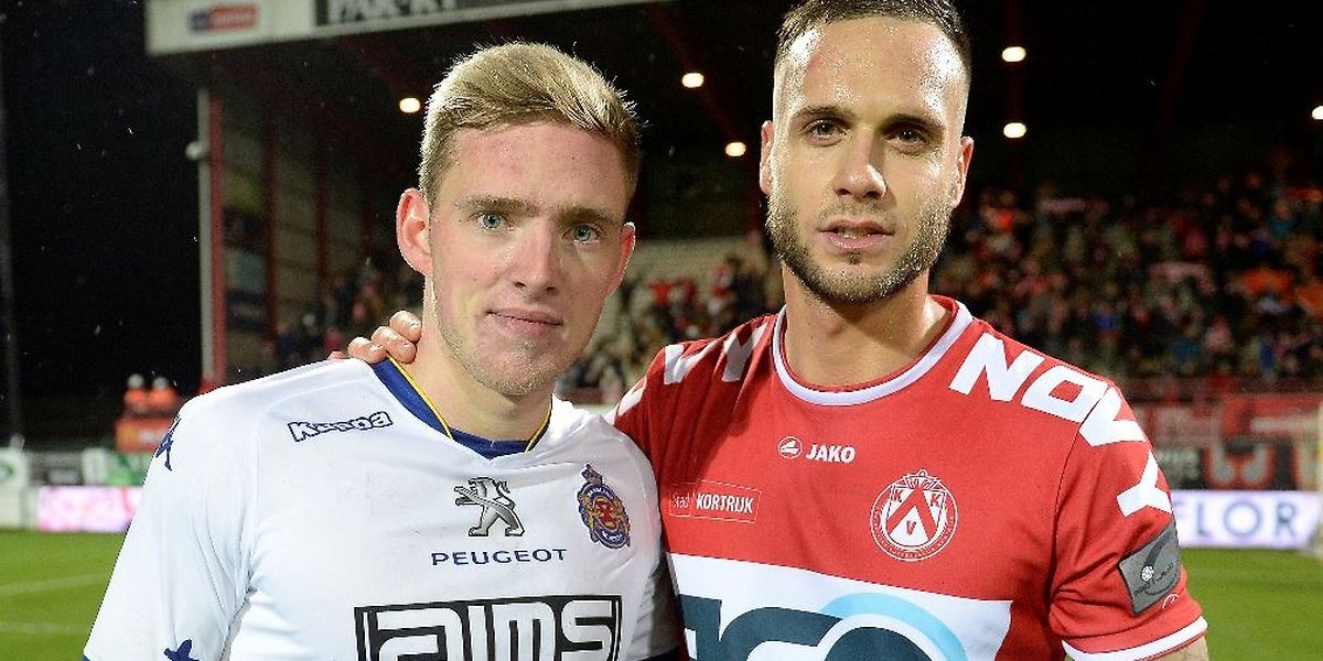 Maxime Chanot (r.) war mit Courtrai Laurent Jans (Waasland-Beveren) überlegen.