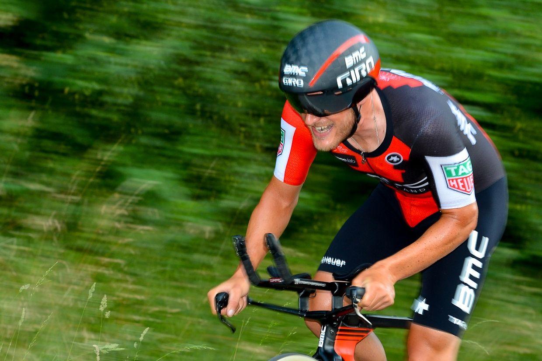 Jempy Drucker (BMC) auf dem Weg zu seinem ersten Landesmeistertitel im Zeitfahren.