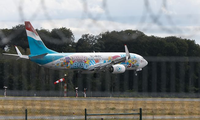 A Luxair plane lands at Luxembourg's Findel airport
