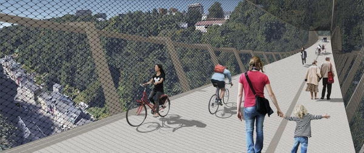 Der Kostenpunkt für die Hängebrücke und den Aufzug soll um die 11 Millionen Euro liegen.