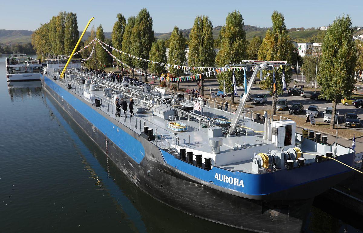 Das Tankschiff Aurora bot am Freitag in Remich einen ungewohnten Anblick.