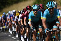 Denmark's Jakob Fuglsang (2ndR) and Great Britain's Geraint Thomas (behind) ride in the pack during the eighth stage of the 106th edition of the Tour de France cycling race between Macon and Saint-Etienne, on July 13, 2019. (Photo by Anne-Christine POUJOULAT / AFP)