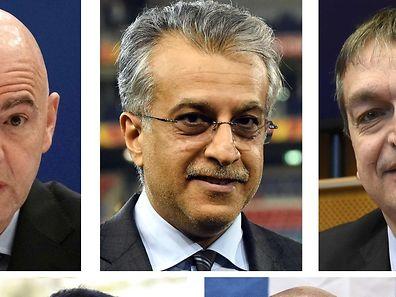Die Kandidaten auf die Blatter-Nachfolge: UEFA-Generalsekretär Gianni Infantino, AFC-Präsident Sheikh Salman bin Ebrahim Al Khalifa, der frühere stellvertretende FIFA-Generalsekretär Jerome Champagne, FIFA-Vizepräsident für Asien Prinz Ali bin al-Hussein von Jordanien sowie der Vorsitzende des FIFA-Monitoringkomitees, Tokyo Sexwale.