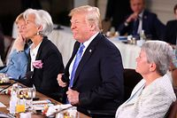 QUEBEC CITY, QC - JUNE 09: US President Donald Trump during the Gender Equality Advisory Council working breakfast on the second day of the G7 Summit on June 9, 2018 in Quebec City, Canada. Canada are hosting the leaders of the UK, Italy, the US, France, Germany and Japan for the two day summit, in the town of La Malbaie.   Leon Neal/Getty Images/AFP == FOR NEWSPAPERS, INTERNET, TELCOS & TELEVISION USE ONLY ==