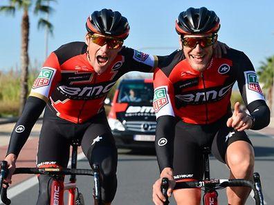Jempy Drucker (r.) und Greg van Avermaet sollen gemeinsam die 77. Landesrundfahrt bestreiten.