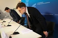 IPO.PK Stellungnahme Regierung Coronavirus.Lex Delles,Xavier Bettel,Paulette Lenert,Franz Fayot. Foto: Gerry Huberty/Luxemburger Wort
