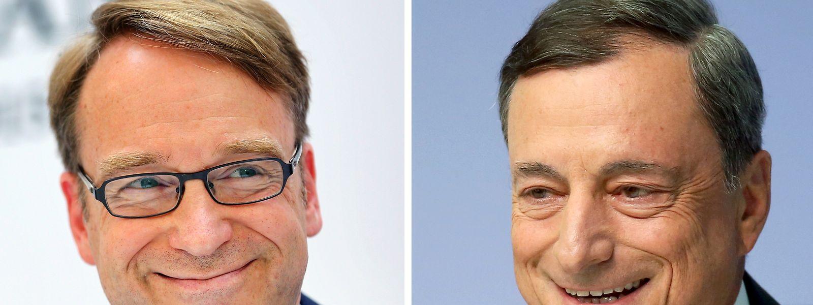 Jens Weidmann (l), Präsident der Deutschen Bundesbank, und Mario Draghi, Präsident der Europäischen Zentralbank