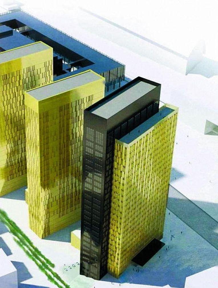 """So wird der Neubau aussehen. Bei dem dritten Gebäude handelt es sich um einen Doppelturm. Er wird seine beiden """"Brüder"""" um 15 Meter überragen."""