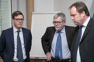 CFL-Generaldirektor Marc Wengler, Verwaltungsratspräsident Jeannot Waringo und Marc Hoffmann, Direktor des Personenverkehrs.