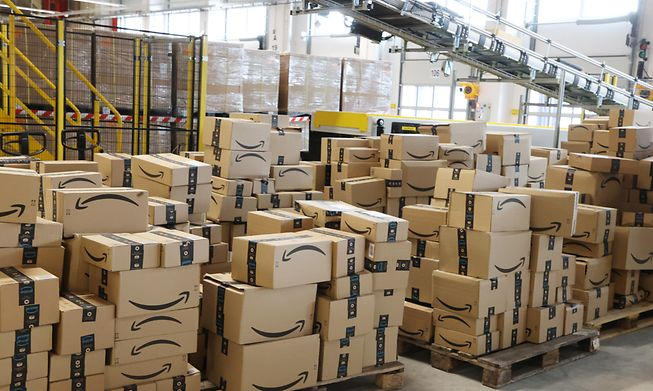 Amazon boxes at a warehouse in Germany