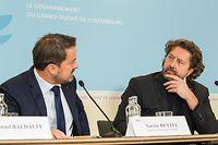 Kultur , PK Film Fund Luxembourg , Filmfong , Rapport Annuel , vlnr  Xavier Bettel , Guy Daleiden ,  Foto: Guy Jallay/Luxemburger Wort