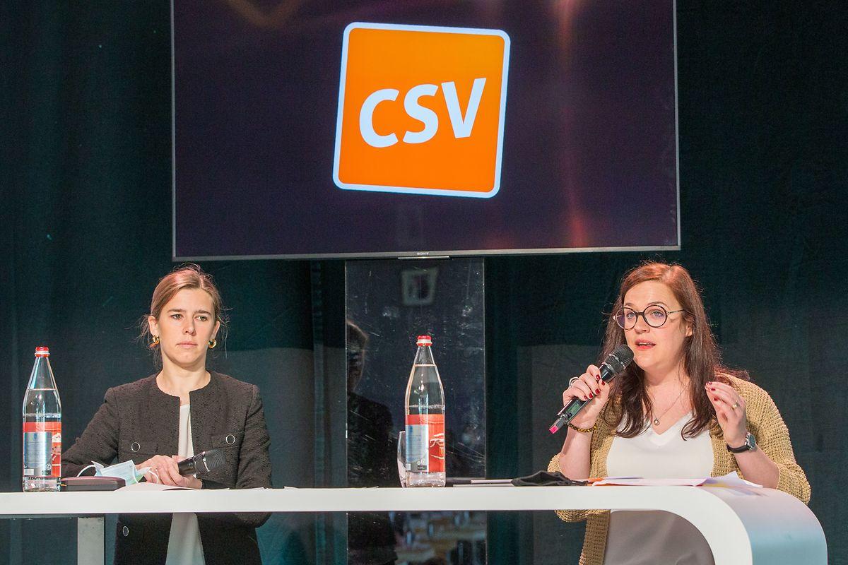 Elisabeth Margue, nouvelle coprésidente, et Stéphanie Weydert, nouvelle co-secrétaire générale du CSV.