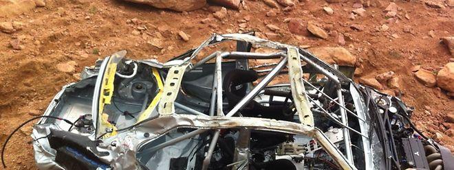 Der Mitsubishi Evo 8 von Jeremy Foley nach dem Crash.