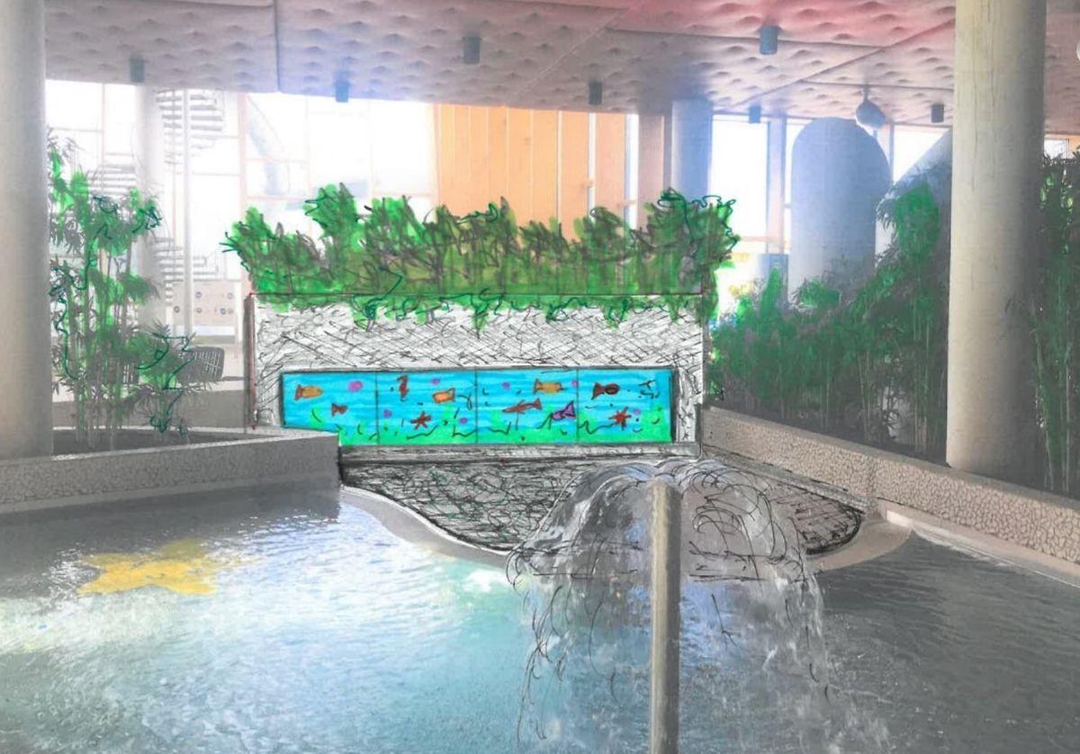 Am Kinderbecken entsteht ein 3D-Aquarium.