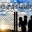 Fl�chtlinge, Stacheldraht, Maschendraht, Sonne, blauer Himmel (Foto: Shutterstock)