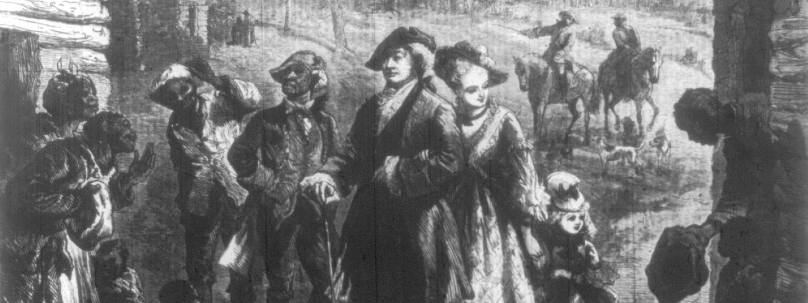 Ein Plantagenbesitzer in Virginia und seine Familie besichtigen die Unterkünfte ihrer Sklaven, Darstellung in Harper's Weekly von 1876 über die Situation hundert Jahre zuvor.