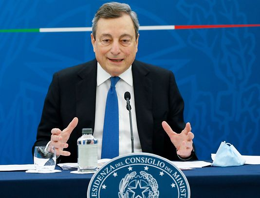 Italian Prime Minister, Mario Draghi gives a press conference on Friday in Rome.