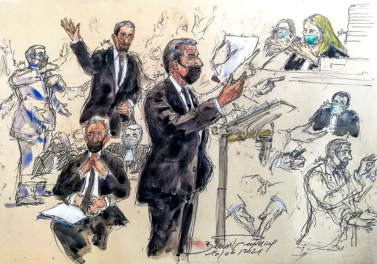 Eine Gerichtszeichnung von der Anhörung am 15. Juni.