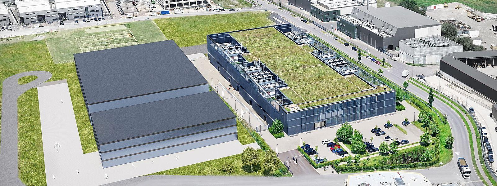 Das LuxConnect-Datenzentrum in Bissen (Mitte). Das Gebäude links wird neu errichtet.