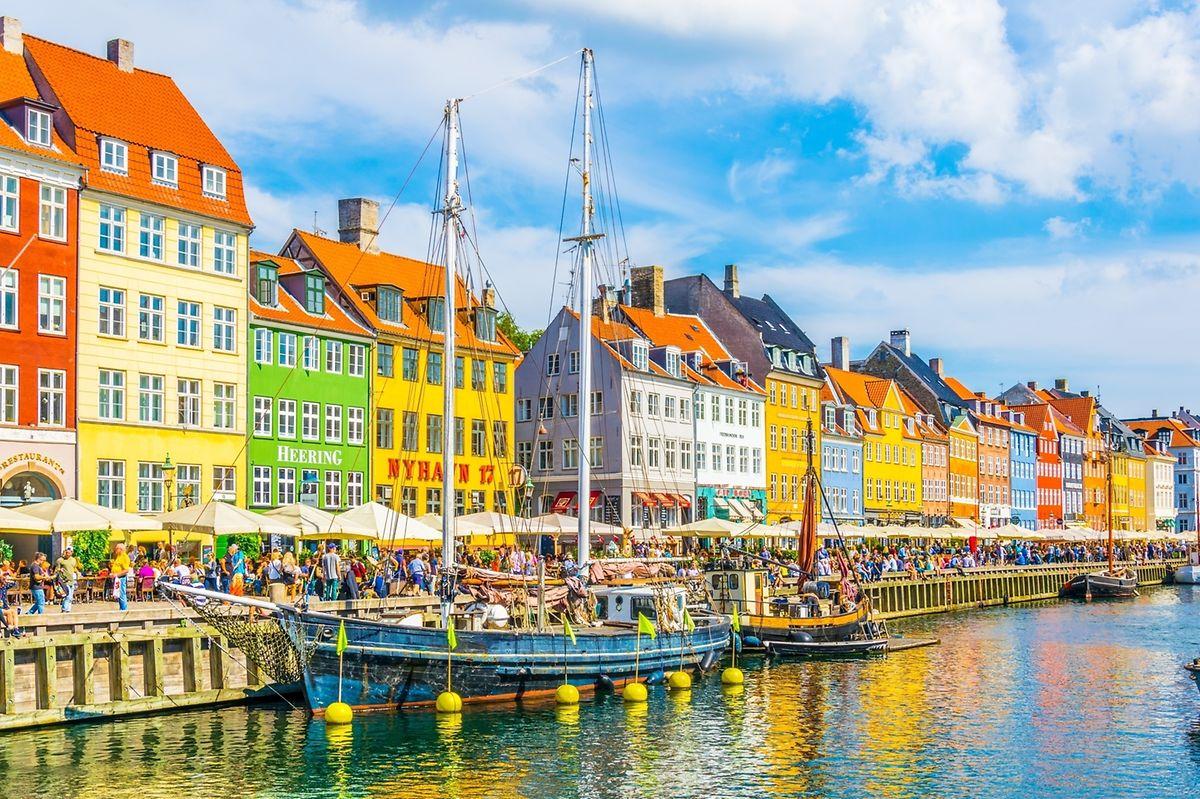 View of the Nyhavn port in the central Copenhagen, Denmark.