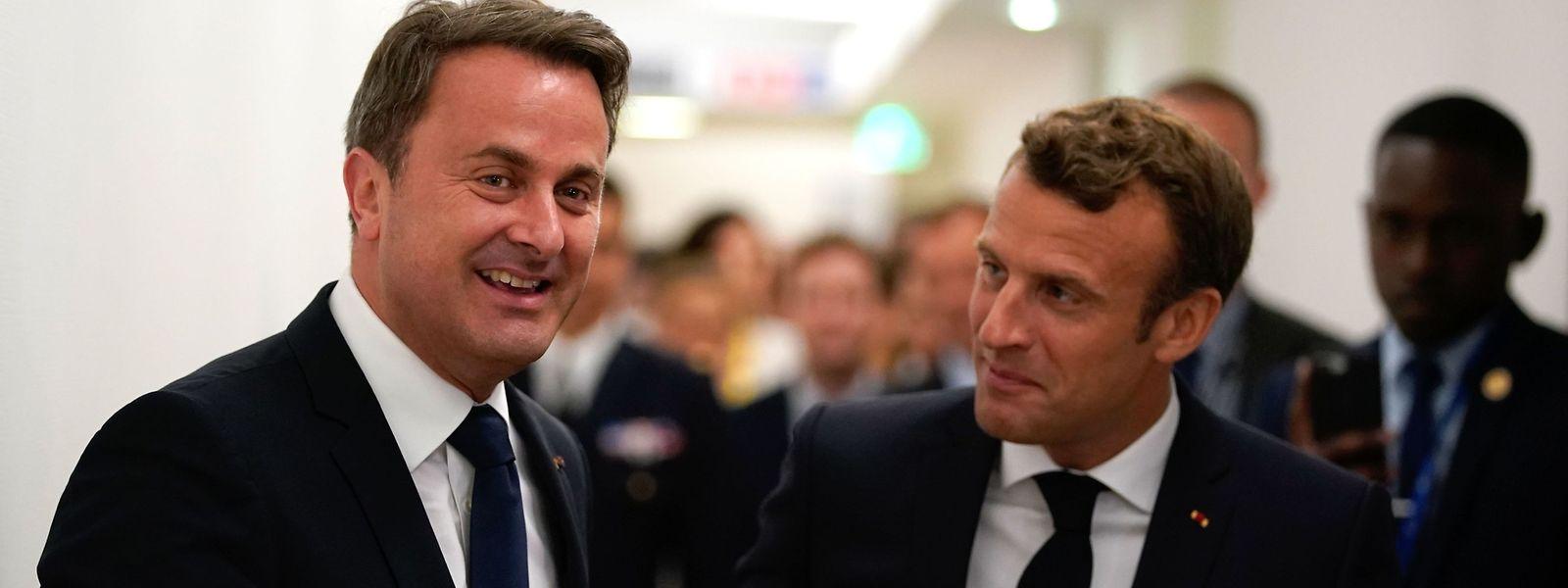 Xavier Bettel und der französische Präsident Emmanuel Macron am Donnerstag in Brüssel.