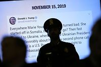 WASHINGTON, DC - NOVEMBER 15: A tweet from U.S. President Donald Trump created while former U.S. Ambassador to Ukraine Marie Yovanovitch's testifies before the House Intelligence Committee is shown in the Longworth House Office Building on Capitol Hill November 15, 2019 in Washington, DC. In the second impeachment hearing held by the committee, House Democrats continue to build a case against U.S. President Donald Trumps efforts to link U.S. military aid for Ukraine to the nations investigation of his political rivals.   Drew Angerer/Getty Images/AFP == FOR NEWSPAPERS, INTERNET, TELCOS & TELEVISION USE ONLY ==