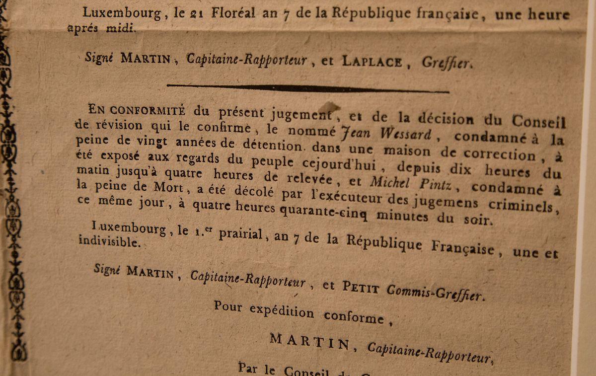 Verdict de condamnation à mort en mai 1799.
