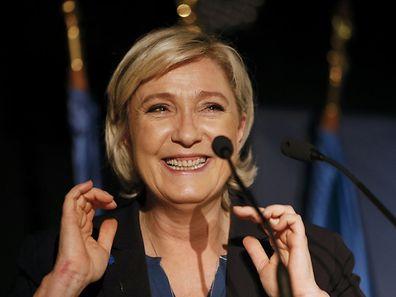 Marine Le Pen lors de son meeting à Clairvaux-les-Lacs, dans le Jura, vendredi.