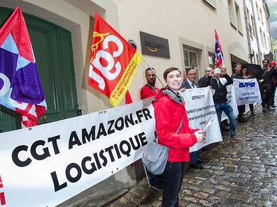 30.9. Amazon Luxembourg / Piquet de Protestation Syndicats Europeens / Michelle Cloos Foto:Guy Jallay