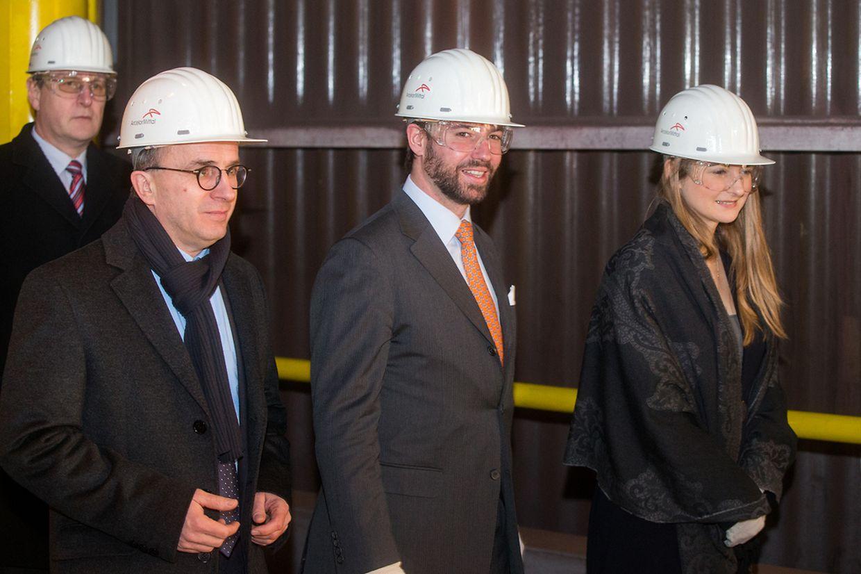 Erbgroßherzog Guillaume und seine Frau Stéphanie besuchten am Dienstag das ArcelorMittal-Werk in Differdingen.