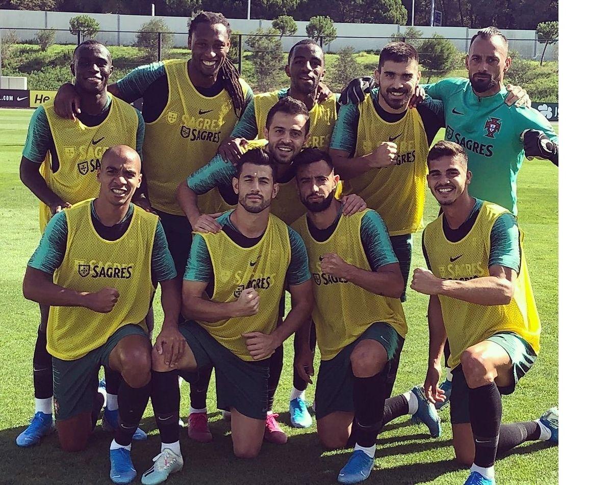 Foto de parte da equipa das quinas ontem nos treinos divulgada por Rúben Semedo na sua conta de instagram.