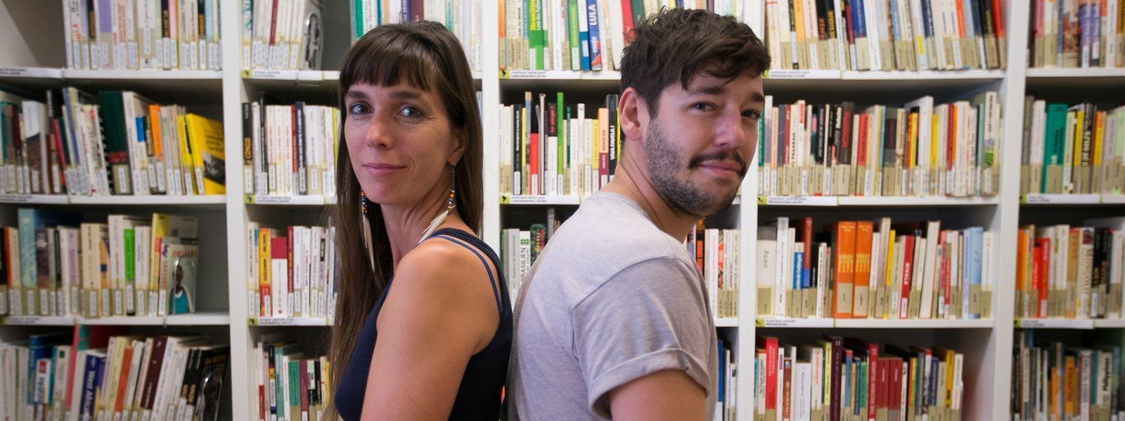 Nathalie Oberweis (l.) vom Comité pour une Paix Juste au Proche-Orient (CPJPO) und Ben Max von der ASTM (Action Solidarité Tiers Monde).