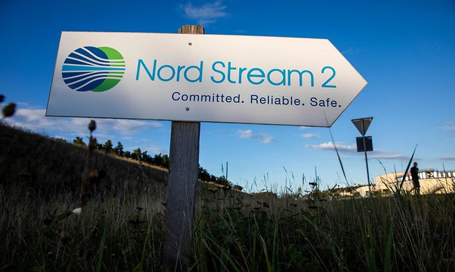 A road sign directing traffic towards the Nord Stream 2 gas line landfall facility entrance in Lubmin, north eastern German