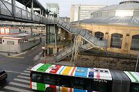 Lokales, Gare-Rocade, Bus, Busse, Quai, Busspur, alte Verbindungsbrücke Foto: Anouk Antony/Luxemburger Wort