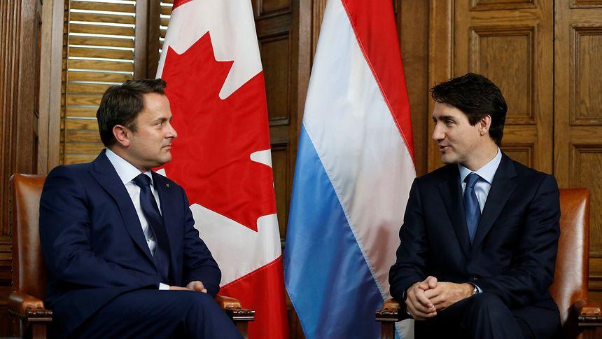 Wichtige Partner: Xavier Bettel mit Kanadas Premier Justin Trudeau (r.).
