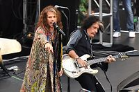 Steven Tyler and Joe Perry of Aerosmith perform on NBC's 'Today' show at Rockefeller Center on August 15, 2018 in New York City. (Photo by ANGELA WEISS / AFP)