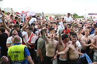 England supporters react to England's win at the 4TheFans Fan Park in Manchester, north-west England on June 29, 2021, after the UEFA EURO 2020 football match between England and Germany being played in London. (Photo by Oli SCARFF / AFP)