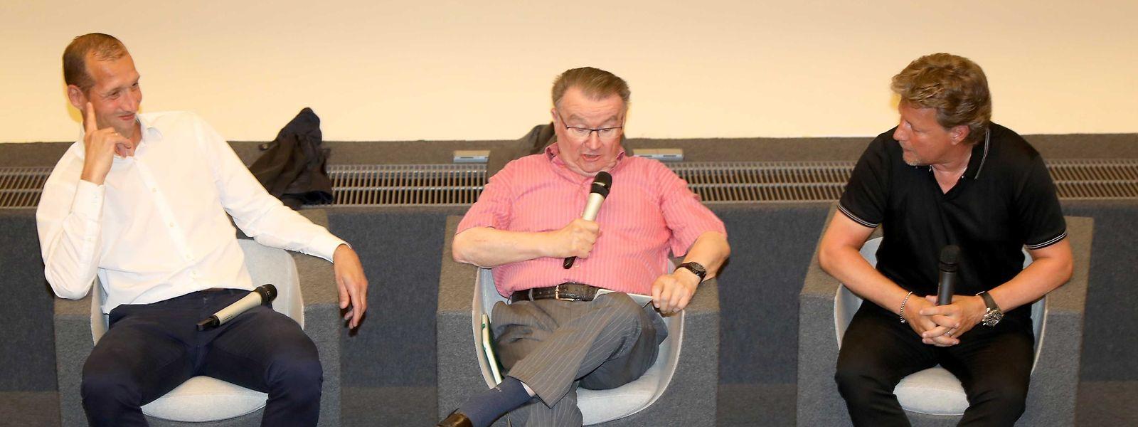 Jeff Strasser (l.), der pensionierte Sportjournalist Pilo Fonck und Jeff Saibene (r.).
