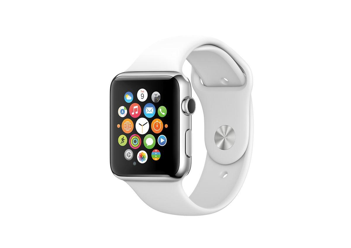 Die Apple Watch hat eine neuartige Benutzeroberfläche. Sie wird über den Touchscreen und einen Dreh- und Druckschalter namens Crown gesteuert.