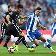 FC Porto's Jesus Corona (R) in action against Bonilha of Vitoria de Setubal during their Portuguese First League soccer match, held at Dragao stadium, Porto, Portugal, 19th March 2017. JOSE COELHO/LUSA