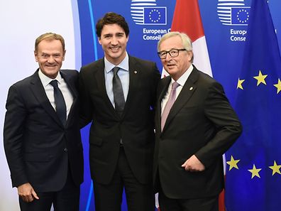 European Council President Donald Tusk, the Canadian Prime Minister Justin Trudeau and President of the European Commission Jean-Claude Juncker