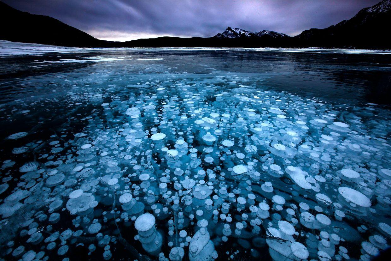 Kanada: An der Oberfläche eines Sees in den Rocky Mountains sind Methangasblasen im Eis festgefroren.