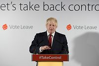 """(FILES) In this file photo taken on June 24, 2016 Former London Mayor, and """"Vote Leave"""" campaigner Boris Johnson speaks during a press conference in central London on June 24, 2016. Britain's election watchdog believes the official Brexit campaign broke spending rules in the 2016 EU referendum, the campaign itself revealed on July 4, 2018. / AFP PHOTO / POOL / Stefan ROUSSEAU"""
