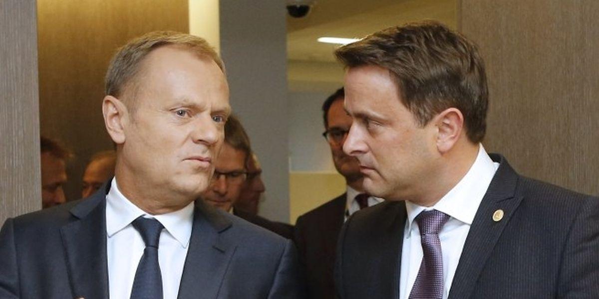 Premier Xavier Bettel mit EU-Gipfelchef Donald Tusk.