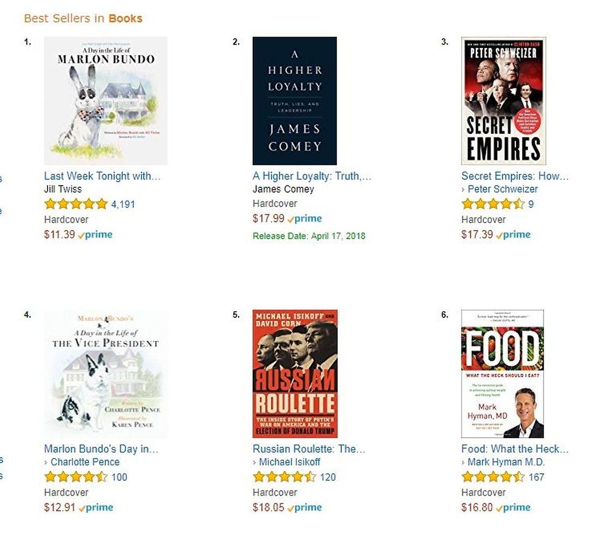 """An der Kasse zählt's: Der """"falsche"""" Marlon Bundo ist der Bestseller, das Original steht auf Platz 4 - landesweit."""
